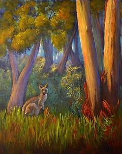 Original-acrylic-painting-Australian-animals-Kangaroo-in-bush