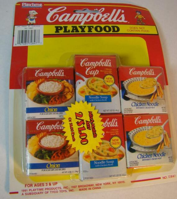 Campbells Playtime Kids Toy Play Food Soup Mix Chicken Noodle Onion 1991 Nos For Sale Online Ebay