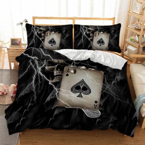 Gothic Skull Duvet Cover Bedding Set Quilt Cover Pillow Cases Single Double King