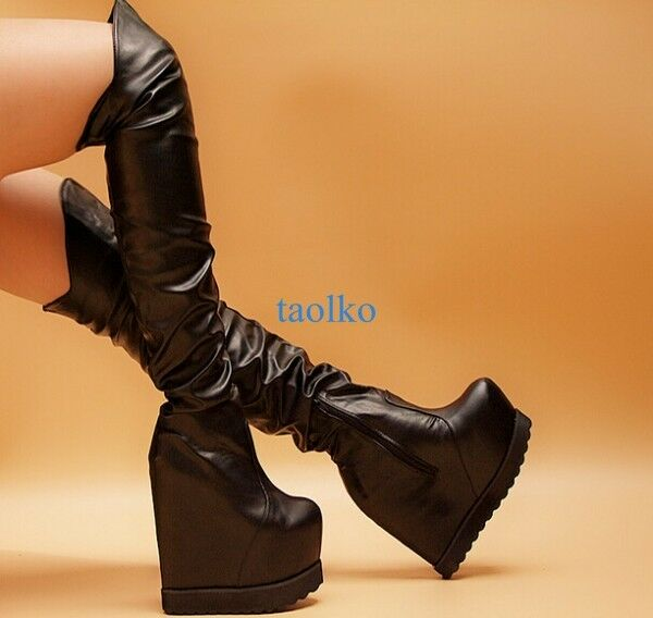 Women's Over The Knee Thigh Boots Platform Wedge High Heel Sexy Party shoes