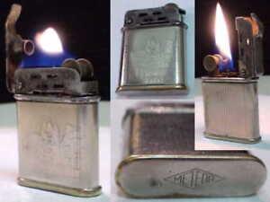Briquet-ancien-METEO-Art-Deco-Tempete-Fuel-Lighter-Feuerzeug-Accendino