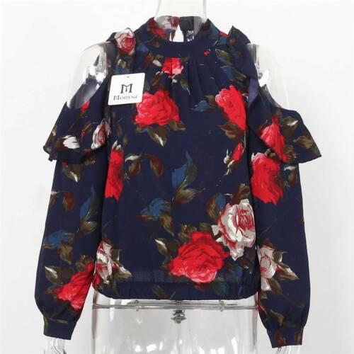 Womens Chiffon Cold Shoulder Floral Long Sleeve Ruffle Shirts Ladies Blouse Tops