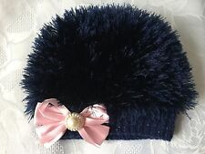 Hand Knitted Baby Girls Navy  Eyelash  Wool  Beanie Hat  0 - 3 months  'NEW'