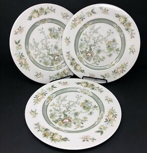 Set-of-3-Royal-Doulton-Fine-China-TONKIN-Cream-Green-Floral-Dinner-Plates-1974