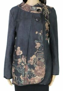 Radzoli-Women-039-s-Jacket-Black-Size-Large-L-Floral-Printed-Faux-Suede-98-095