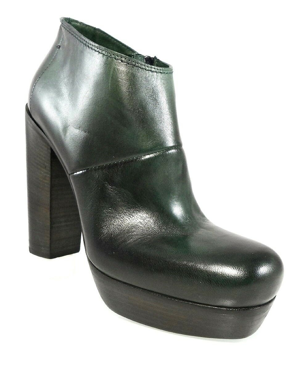 NIB  895 CoSTUME NATIONAL GREEN ANKLE BOOTS PLATFORM CHUNKY HEELS Women's 39 9