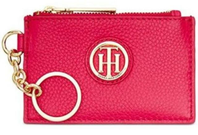5dc60d384 Tommy Hilfiger NWT $48 Lucky Charm Tag Pink Rose Leather ID Coin Wallet Key  FOB