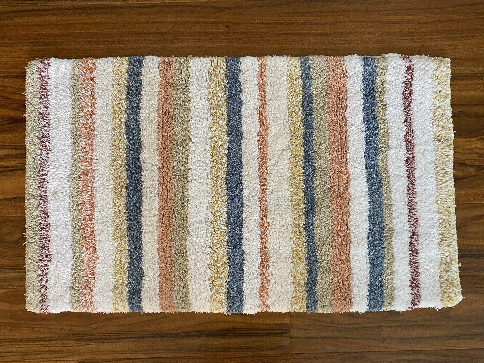"""Broyhill Farmstead Terrace Cotton Multi-Striped Bath Rug 18""""W x 30""""L"""