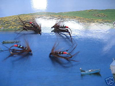 4 V Fly Size 10 Ultimate RV Red Butt Claret Hopper Trout Flies