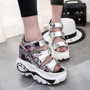 f1cbb1596bfe9c Girls Women Cute Summer Platform High Heels Peep Toe Wedge Sneaker ...