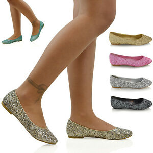 New-Womens-Ladies-Flat-Glitter-Bridal-Bridesmaid-Prom-Dolly-Pumps-Shoes-3-9