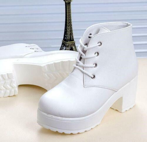 Women Lady Chunky Platform Ankle Boots Mid Block High Heel Casual Shoes Lace Up