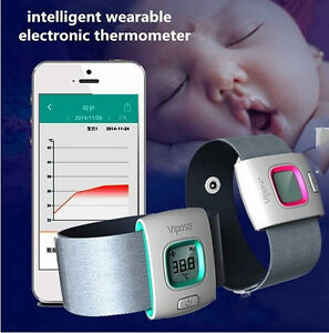 baby kids wearable digital thermometer bluetooth smart monitor for smartphone ebay. Black Bedroom Furniture Sets. Home Design Ideas