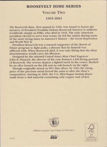 Coin Folder for 1965-2003 Roosevelt Dimes Vol.2 LCF22 Quality Album by Littleton
