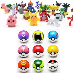 9pcs Pokemon Pokeball + 24pcs Figures Random Cosplay Pop-up toys Kids Gifts