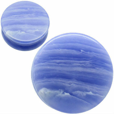 PAIR-BLUE LACE AGATE Ear gauges -Ear Plugs-Flesh Ear Tunnels-Organic Ear Gauges