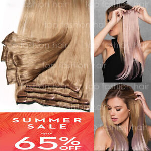 Hair-Extensions-Real-Remy-8PCS-Clip-In-100-Human-Weft-Long-Black-Brown-Blonde-P