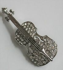 VIOLIN BROOCH / SILVER & CLEAR CRYSTALS / MUSIC VINTAGE STYLE