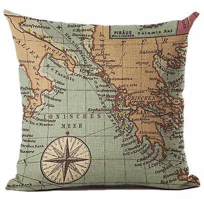 Kissenhülle Kissenbezug Motivkissen maritim Ionisches Meer Mittelmeer Karte