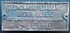 Fabrikschild builders plate brass Italiano Brown Boveri Vadoligure + J.G.Brill