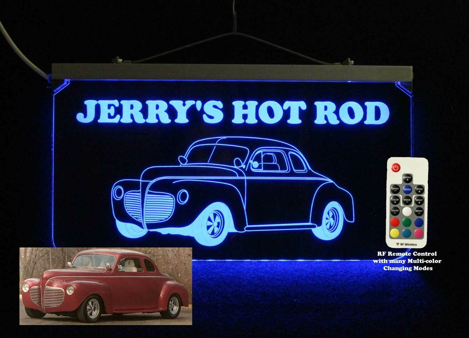 Personalized Hot Rod Car Man Cave Sign - LED - Garage Sign