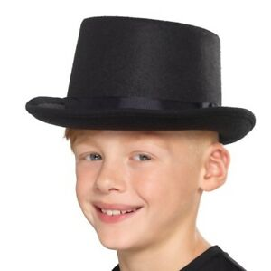 Childs Unisex Top Hat Kids Childrens Fancy Dress Topper Hat Black New by Smiffys