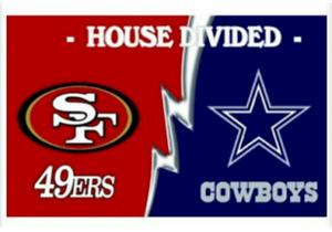 San Francisco 49ers and Dallas Cowboys Divided Flag 3x5ft