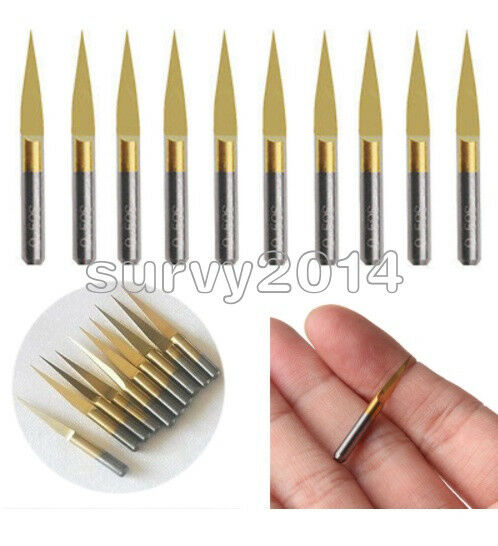 "10 x 1//8/""Titanium Nitride Coated 0.1mm PCB Engraving Bits CNC Router Tool 10°"
