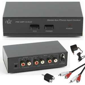Stereo-Phono-Vorverstaerker-PreAmp-mit-AUX-LINE-Eingang-inkl-Kabel-und-Netzteil