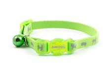 kitten reflective fluorescent safety elastic bell hi viz Cat collar Green