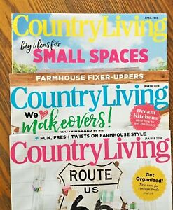 Country Living Magazines Lot of 3 Back Issues - Jan Feb, March and April 2018