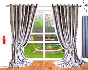 Details About Crushed Velvet Curtains Eyelet Ring Top Thick Ready Made Long Blackout Silver