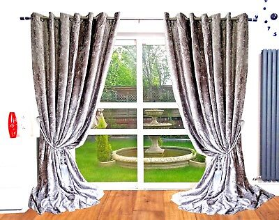 Crushed Velvet Thick Blackout Ready Made Fully Lined Eyelet Ring Top Curtains