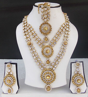 a76bb849d6cb6 Gorgeous Golden Necklace Earrings Tikka Ethnic Indian Kundan Wedding  Jewelry Set | eBay