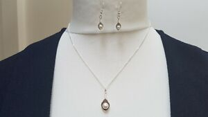 Calla Lilly 925 Sterling Silver & White Pearl necklace & earring set