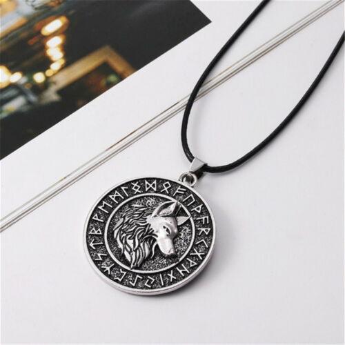 Herren Vintage Silber nordischen Wikinger Wolf/&Vegvisir Rune Anhänger Halskette