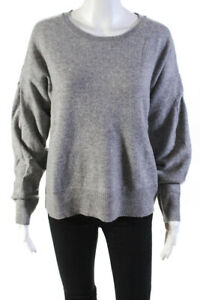 White-Warren-Womens-Cashmere-Long-Sleeve-Crew-Neck-Sweater-Gray-Size-Medium