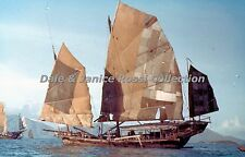 HK292 35mm Slide Chinese Junk Hong Kong China Blue Border Color Transparancy