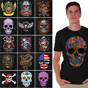 Sugar-Skulls-T-SHIRT-Day-Of-Dead-Shirts-Halloween-shirt-Dia-De-Los-Muertos-BLACK
