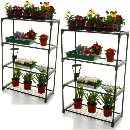 GREENHOUSE STAGING STORAGE SHELVING PLANTING SINGLE AND DOUBLE PACK GARDENING