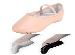 Leather-Ballet-Shoes-Full-Sole-with-Attached-Elastics