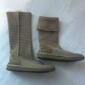 Ugg-Australia-Knit-Sweater-Boot-Classic-Cardy-women-Tan-US-8-textile-uppers