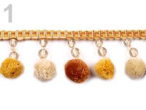 Pompon-Borte-mit-Perlen-6-5-cm-breit-Meterware
