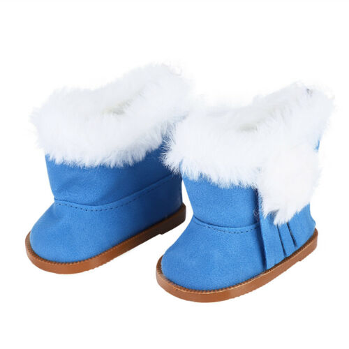 1 Pair Plush Doll Winter Shoes Thick Snow Boots Fit for 18 Inch Girl Doll Shoes
