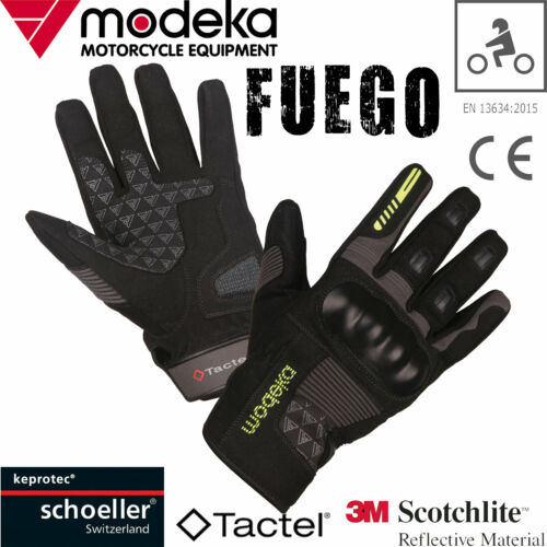 Modeka FUEGO court moto gants Amara Tactel 3 M Keprotec Noir Gris CE