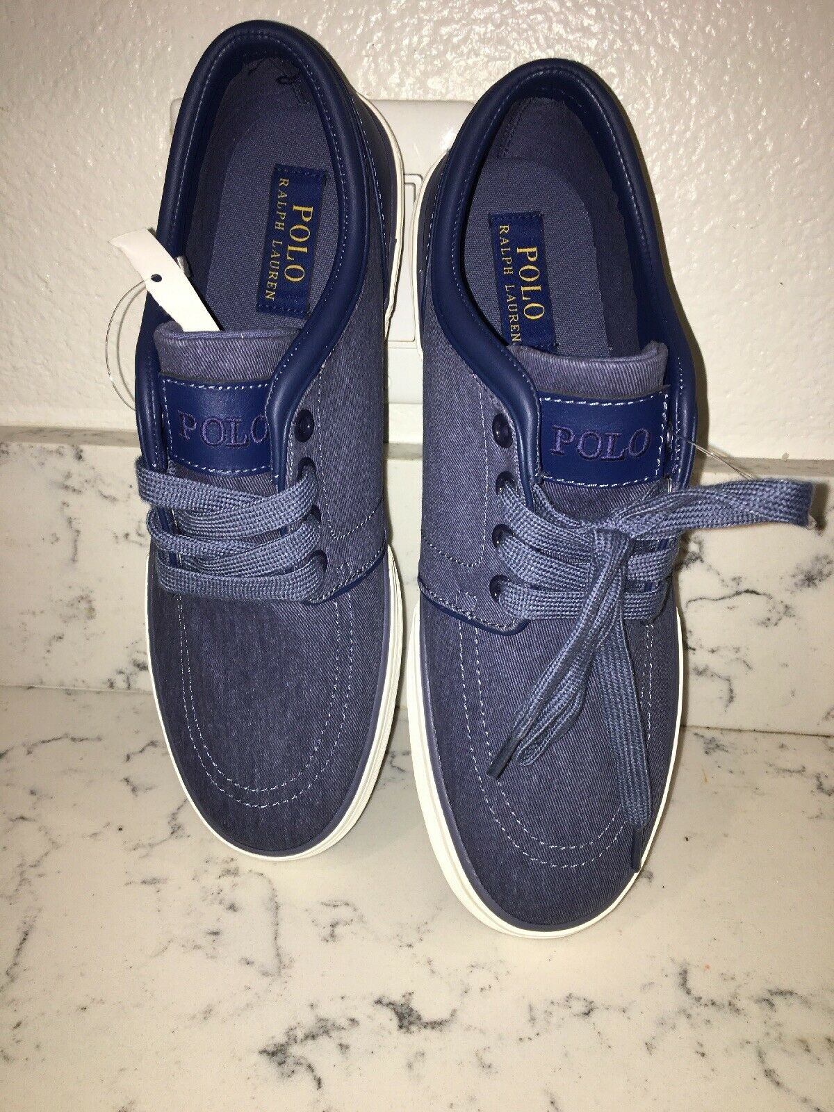 Polo Ralph Lauren  navy bluee canvas sneakers Mens casual shoes Size 8.5D