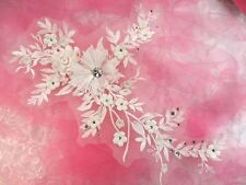 """Embroidered 3D Applique Antique White Floral Sequin Patch Rhinestone Center 14"""""""