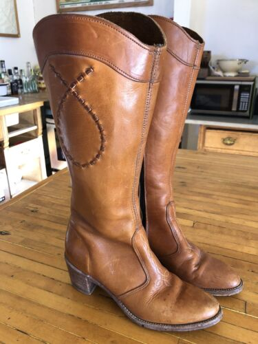 Vintage Leather Western Go Go Zipper Boots 8.5 N
