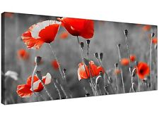 Red Extra large Canvas of Flowers for Bedroom  - 120cm x 50cm - 1135