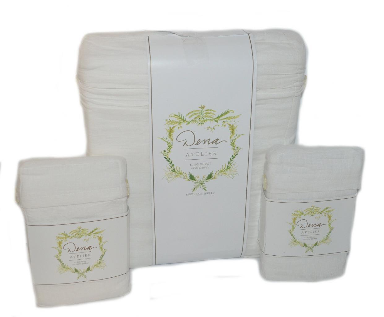 0bd185a839 DENA HOME Atelier Somerset White Linen 3P KING DUVET COVER SHAMS SET NEW  for sale online